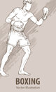 Hand sketch of a boxing man. Vector sport illustration. Graphic silhouette of the athlete on background.