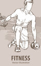 Hand sketch of a man is training with dumbbells. Vector sport illustration. Graphic silhouette of the athlete on