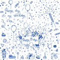 Hand sketched happy birthday doodle set