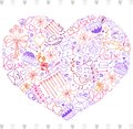 Hand sketched Valentines day elements heart