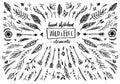 Hand sketched vector vintage elements ( laurels, frames, leaves,