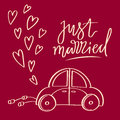 Hand sketched vector wedding symbol. Just married lettering and car