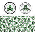 Hand Spinner emblems and seamless pattern