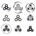 Hand spinner fidget toy vector icon set.
