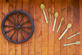 Hand spinning wheel on the wall of the old log house Royalty Free Stock Photo