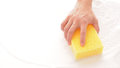 Hand and sponge with on white background Stock Photos