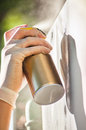 Hand spraying graffiti close up Royalty Free Stock Photo