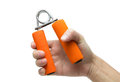 Hand squeeze spring hand grip strengthener and exerciser with clipping path Royalty Free Stock Image
