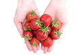 Hand with strawberry on white background woman s isolated Stock Images