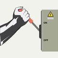 The hand and the switch device for inclusion shutdowns switchings of strong electric currents holds a knife Stock Image