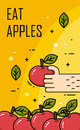 Hand takes apple from a lot of apples. Thin line flat design. Vector banner