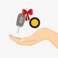 Hand takes car key