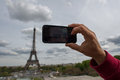 Hand taking selfie at Paris tour eiffel Royalty Free Stock Photo