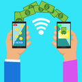 Hand tapping smart phone with banking payment app. Money transfer. Currency exchange. People sending and receiving money wireless Royalty Free Stock Photo