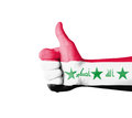 Hand with thumb up iraq flag painted isolated on white Royalty Free Stock Photography