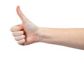 Hand with thumb up isolated on white background Stock Image