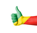 Hand with thumb up republic of congo flag painted isolated on white Royalty Free Stock Photos