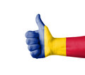 Hand with thumb up romania flag painted isolated on white Stock Photos