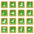 Hand tool icons set green