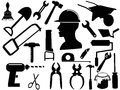 Hand tool silhouettes isolated black on white baclground Royalty Free Stock Images