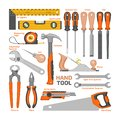 Hand tool vector construction handtools hammer pliers and screwdriver of toolbox illustration workshop set of carpenters