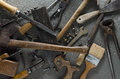 Hand tools gritty and other bits of grungy hardware Royalty Free Stock Images