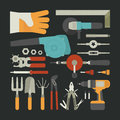 Hand tools icon set flat design eps vector format Royalty Free Stock Photos