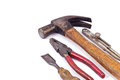 Hand tools set such as hammer chiel plier and devier Stock Photography