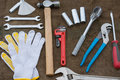 Hand tools set or Work tools set background Royalty Free Stock Photo