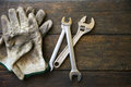 Hand tools set or Work tools set background, Tools in industry job for general work or hard work. personal protection equipment Royalty Free Stock Photo