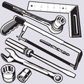 Hand tools and sockets collection of various hardware Royalty Free Stock Images