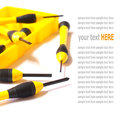 Hand tools, yellow screwdriver set isolated on White Royalty Free Stock Photo