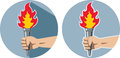 Hand and torch icon of a holding a Royalty Free Stock Photo