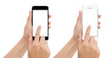 Hand touch phone isolated with clipping path on white background