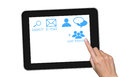 Hand touch screen on tablet pc. Royalty Free Stock Images