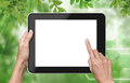 Hand touch screen on tablet pc. Stock Images