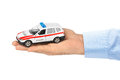 Hand with toy police car Royalty Free Stock Photo