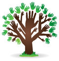 Hand tree logo an abstract image icon with hands as a trunk and leaves Stock Image