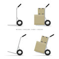Hand truck and loads vector illustration of trucks their Royalty Free Stock Image