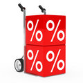 Hand truck sale cube Royalty Free Stock Photos