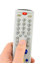 Hand tv remote control isolated white background Stock Photo
