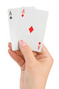 Hand with two aces isolated on white background Royalty Free Stock Photography