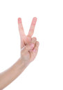Hand with two fingers isolated Royalty Free Stock Photo