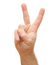 Hand with two fingers up Royalty Free Stock Images