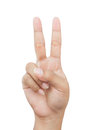 Hand with two fingers up in the peace or victory symbol Royalty Free Stock Photography