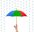 Hand with umbrella and rain Stock Photos