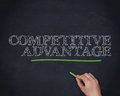 Hand underlining the word competitive advantage in green blackboard Stock Images