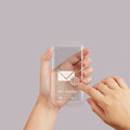 Hand use touch screen mobile phone with email icon as concept Stock Image