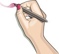 Hand using stylus draws a brush sketch Stock Photos