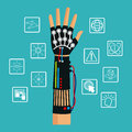 Hand using wired glove vr cyber technology Royalty Free Stock Photo